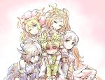 1boy 4girls ahoge apollo_(p&d) bare_shoulders blue_eyes blush braid brown_eyes brown_hair dragon_girl embarrassed hair_ornament hands_on_another's_shoulders highres horn ishiyumi kali_(p&d) light_valkyrie_(p&d) long_hair multiple_arms multiple_girls navi_(p&d) nose_blush one_eye_closed pelt pink_eyes pink_hair puzzle_&_dragons sakuya_(p&d) short_hair sitting smile sweat twin_braids v_arms valkyrie_(p&d) very_long_hair wariza wavy_mouth white_hair wings