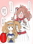 2girls =_= atsushi_(aaa-bbb) belt blush breast_pocket breasts brown_hair commentary commentary_request dress drooling hair_between_eyes hairband heart i-26_(kantai_collection) impossible_clothes kantai_collection large_breasts light_brown_eyes light_brown_hair long_hair multiple_girls neckerchief one-piece_swimsuit open_clothes open_mouth pocket ponytail red_neckerchief saliva saratoga_(kantai_collection) school_swimsuit short_sleeves side_ponytail sidelocks smile sweatdrop swimsuit swimsuit_under_clothes translated two-tone_hairband two_side_up white_dress