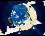 butterflies cloud clouds dress earth high_heels highres hrd moon original shoes sound_system space speaker star stars