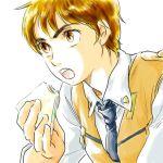 eating feu izumi_noa kidou_keisatsu_patlabor lowres necktie patlabor sandwich uniform
