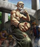 battle beard blood facial_hair male matataku muscle old_man shirtless topless