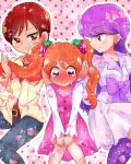 3girls :> blush earrings eyebrows_visible_through_hair food_themed_hair_ornament hair_ornament holding_another's_hair jewelry kenjou_akira kirakira_precure_a_la_mode kotozume_yukari long_hair looking_at_another minchu multiple_girls orange_hair petals pink_eyes precure purple_hair red_eyes redhead short_hair smile strawberry_background strawberry_hair_ornament twintails usami_ichika violet_eyes