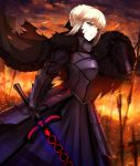 1girl armor armored_dress blonde_hair breastplate cape clouds dark_excalibur dark_persona fate/stay_night fate_(series) fire fur-trimmed_cape fur_trim gauntlets highres holding holding_sword holding_weapon looking_away parted_lips planted_sword planted_weapon saber saber_alter shiguru sky slit_pupils solo sparks sword torn_cape weapon yellow_eyes