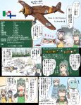 3girls aircraft airplane apron bell_p-39_airacobra blue_eyes closed_eyes commentary_request drunk eila_ilmatar_juutilainen fiat_g50_freccia food fruit green_hair grey_hair gun hair_ribbon hat hibiki_(kantai_collection) highres kantai_collection long_hair long_sleeves macchi_c200_saetta melon mini_hat moomin moomintroll multiple_girls muppo plate pola_(kantai_collection) ponytail refrigerator ribbon rifle sailor_hat school_uniform serafuku short_sleeves silver_hair sleeping strike_witches translation_request tsukemon weapon winter winter_clothes world_witches_series yellow_eyes yuubari_(kantai_collection) zzz
