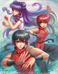 1boy 2girls black_hair blue_eyes braid china_dress chinese_clothes double_bun dress dual_persona highres long_hair multiple_girls original purple_hair ranma-chan ranma_1/2 red_eyes redhead saotome_ranma shampoo_(ranma_1/2) single_braid tangzhuang