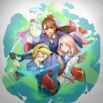 3girls absurdres aqua_eyes atsuko_kagari blonde_hair boots brown_eyes brown_hair dress glasses hair_over_one_eye hairband highres holding knee_boots lavender_hair little_witch_academia long_hair long_sleeves looking_at_viewer lotte_yanson magic multiple_girls open_mouth panties pantyshot piu_(pengtaipxv2014) red_eyes robe school_uniform short_hair smile sucy_manbavaran underwear v wand white_panties