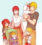 3boys 3girls baby bib blonde_hair blue_eyes carriage child chuu couple family good_end green_eyes half_updo if_they_mated jaune_arc long_hair looking_at_another multiple_boys multiple_girls onesie open_clothes open_vest ponytail pyrrha_nikos redhead rwby shirt shorts smile striped striped_shirt stuffed_animal stuffed_bunny stuffed_toy sweatdrop vest