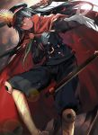 1girl belt black_hair cape demon_archer fate_(series) gloves grin gun hat koha-ace long_hair looking_at_viewer red_eyes smile solo teeth weapon white_gloves zen_o