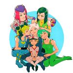 3boys 3girls arm_warmers bare_shoulders baseball_cap baseball_uniform blonde_hair blue_eyes bouquet breasts cheek_kiss closed_eyes double_bun emporio_alnino ermes_costello fishnets flower foo_fighters green_eyes green_hair grin hairlocs hand_on_another's_head hat horns indian_style jojo_no_kimyou_na_bouken kiss kneeling kuujou_jolyne long_hair midriff multicolored_hair multiple_boys multiple_girls narciso_anasui one_eye_closed overalls pants pink_hair shoes short_hair simple_background sitting sitting_on_lap sitting_on_person smile socks sportswear squatting tank_top turtleneck vest weather_report yellow_eyes yyy246