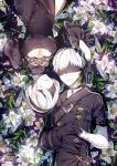 1boy 1girl android blindfold breasts choker cleavage cleavage_cutout dress flower gloves juliet_sleeves leaf long_sleeves lying maokezi nier_(series) nier_automata on_back puffy_sleeves ripples water white_flower white_hair yorha_no._2_type_b yorha_no._9_type_s