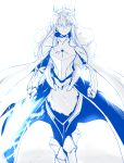 1girl armor armored_boots armored_dress artoria_pendragon_lancer_(fate/grand_order) backlighting bangs blue boots breastplate cloak closed_mouth expressionless eyebrows_visible_through_hair fate/grand_order fate_(series) fur_trim gauntlets harukon_(halcon) highres holding holding_sword holding_weapon long_hair looking_at_viewer monochrome saber sidelocks simple_background solo sword thigh-highs weapon