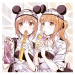 2girls animal_ears bag bandages bangs blunt_bangs brown_eyes brown_hair churro collarbone drink drinking eating food food_on_face girls_und_panzer hair_ribbon hat long_hair manicure mickey_mouse_ears multiple_girls nishizumi_miho open_mouth orange_eyes orange_hair pointing ribbon shirt short_hair t-shirt takebe_saori totonii_(totogoya)