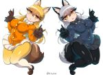 2girls animal_ears black_bow black_bowtie black_gloves black_legwear black_necktie black_skirt blazer bow bowtie brown_gloves buttons erect_nipples extra_ears eyebrows_visible_through_hair ezo_red_fox_(kemono_friends) fox_ears fox_shadow_puppet fox_tail fur_trim gloves haku_hakujou_daimaou highres jacket kemono_friends loafers long_hair long_sleeves looking_at_viewer multicolored multicolored_clothes multicolored_legwear multiple_girls necktie panties panties_under_pantyhose pantyhose pleated_skirt shoes signature silver_fox_(kemono_friends) silver_hair skirt tail underwear white_bow white_bowtie white_panties white_skirt wide_hips yellow_eyes yellow_necktie
