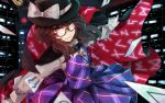 1girl brown_eyes brown_hair buttons cape card cityscape glasses gloves hat hat_ribbon kasahara_udori long_sleeves looking_at_viewer plaid plaid_skirt plaid_vest pleated_skirt red-framed_eyewear ribbon school_uniform short_hair skirt smile solo touhou twintails usami_sumireko vest zener_card
