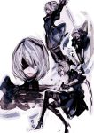 1girl blindfold boots gloves mole mole_under_mouth nier_(series) nier_automata silver_haid skirt thigh-highs thigh_boots tima yorha_no._2_type_b