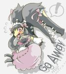 ! apron blush bow detached_sleeves dress embarrassed flying_sweatdrops lolita_fashion maid_apron maid_cap maid_headdress mawile mega_mawile mega_pokemon miji outstretched_hand pink_dress pokemon pokemon_(creature) violet_eyes