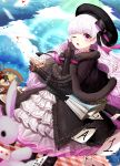1girl ;o ace alice_in_wonderland bangs beret black_bow black_bowtie black_capelet black_dress black_hat blanket blush book bow bowtie buttons capelet card cherry cheshire_cat chocolate clock clover clubs_(playing_card) cup day dessert diamonds_(playing_card) doll_joints dress dutch_angle elbow_gloves eyebrows_visible_through_hair falling_card fantasy fate/extra fate_(series) food frilled_dress frilled_sleeves frills fruit fur-trimmed_capelet gloves grin hair_bow hand_up hat hearts_(playing_card) highres holding holding_cup index_finger_raised lepoule_(kmjh90) light_particles light_rays long_hair looking_at_viewer motion_blur multicolored_bow mushroom nursery_rhyme_(fate/extra) one_eye_closed open_mouth pancake petticoat picnic pink_bow pink_bowtie pink_eyes pink_hair plate playing_card pudding red_string shiny shiny_hair smile solo spill standing strap string striped striped_bow striped_bowtie stuffed_animal stuffed_bunny stuffed_toy sunlight tea teacup teddy_bear tree very_long_hair wavy_hair wooden_chair wooden_table yellow_eyes