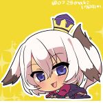 1girl :3 :d absurdres all_fours animal_ears bangs blue_eyes blush bob_cut boots chibi child choker clenched_hands commentary_request crown dress eyebrows_visible_through_hair fox_ears fox_girl fox_tail from_side full_body garter_straps gold_trim hair_between_eyes happy highres juliet_sleeves kazuta_(kazutan62) long_sleeves looking_at_viewer mini_crown motion_lines no_nose on_ground open_mouth outline own_hands_together pink_choker puffy_sleeves purple_boots purple_dress purple_shorts seisen_cerberus seisen_cerberus_ryuukoku_no_fatalite sharisharei sharisharuu_(seisen_cerberus) short_hair short_shorts shorts shorts_under_dress simple_background smile solo sparkle tail thigh-highs twitter_username white_hair wide_sleeves yellow_background