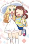 2girls :o ^_^ ^o^ bangs blonde_hair blunt_bangs blush braid brown_hair closed_eyes dress green_eyes hair_ornament hands_together happy hat lilia_(monster_hunter) lillie_(pokemon) long_hair long_sleeves looking_at_viewer monster_hunter monster_hunter_stories multiple_girls one_leg_raised open_mouth pokemon pokemon_(game) pokemon_sm puffy_shorts shorts simple_background sleeveless sleeveless_dress smile standing sun_hat twin_braids twintails waving white_background wide_sleeves