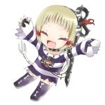 arms_up blonde_hair fang fingerless_gloves gloves gohan_004 happy mahou_shoujo_ikusei_keikaku mahou_shoujo_ikusei_keikaku_limited shirt short_hair smile spike striped striped_shirt tot_pop