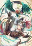 1boy belt bird checkered checkered_background chicken feathers flower full_body green_eyes helmet layered_clothing midriff_peek original rooster shorts steampunk white_hair yaguchi_minato year_of_the_rooster