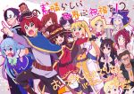 6+boys 6+girls :d ^_^ ahoge aqua_(konosuba) arakuremono_(konosuba) artist_name bags_under_eyes beer_mug belt black_hair blonde_hair blue_eyes blue_hair braid breasts brown_eyes brown_hair cape clenched_hands closed_eyes commentary_request confetti copyright_name crown_braid darkness_(konosuba) dust_(konosuba) empty_eyes eris_(konosuba) everyone from_side glasses hair_ornament hair_over_one_eye hands_on_another's_head hans_(konosuba) hat highres jpeg_artifacts keith_(konosuba) kono_subarashii_sekai_ni_shukufuku_wo! lavender_hair long_hair luna_(konosuba) mask megumin mohawk multiple_boys multiple_girls open_mouth out_of_frame outstretched_arm own_hands_together pointing pointing_forward ponytail profile red_eyes redhead release_date satou_kazuma sena_(konosuba) short_hair sidelocks signature smile sparkle tanaka_kii tears translated vanir wavy_mouth witch_hat wiz_(konosuba) wolbach x_hair_ornament yunyun_(konosuba)