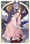 2girls bare_shoulders black_cloak bow brown_hair choker closed_eyes clouds collarbone crescent_moon dress easter_lily flower frilled_dress frills fukuroumori hair_bow hair_over_one_eye heart highres horned_headwear kagari_atsuko lily_(flower) little_witch_academia long_hair moon multiple_girls pink_dress purple_hair red_eyes sharp_teeth sky smile star star_(sky) starry_sky sucy_manbavaran teeth wasp white_flower yuri