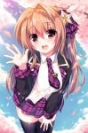 1girl :d absurdres bangs black_jacket black_legwear blue_sky blush bow breasts brown_eyes brown_hair character_request cherry_blossoms clouds cloudy_sky collared_shirt day dress_shirt eyebrows_visible_through_hair hair_between_eyes hair_bow hair_intakes hair_ornament hair_ribbon hand_on_lap hand_up highres jacket leaning_forward legs_together long_hair long_sleeves medium_breasts necktie open_mouth outdoors petals plaid plaid_necktie plaid_skirt ribbon round_teeth school_uniform shirt skirt sky smile solo star star_hair_ornament syroh teeth thigh-highs waving white_shirt wing_collar zettai_ryouiki