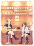 2girls :d acoustic_guitar asymmetrical_bangs bangs black_legwear blazer blonde_hair blue_legwear blue_skirt bowl breasts brown_hair brown_shoes cafe chopsticks closed_eyes closed_mouth collared_shirt cup earrings echizen_murasaki english full_body glass guitar hair_between_eyes head_tilt highres indoors instrument jacket jewelry kneehighs leaning_forward legs_crossed loafers medium_breasts mug multiple_girls music napkin necktie open_mouth own_hands_together playing_instrument pleated_skirt red_necktie sarada_doraivu school_uniform seto_ferb shirt shoes short_hair sign sitting skirt smile stool teapot tokyo_7th_sisters white_shirt wing_collar