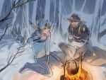 2boys arm_warmers bandanna blonde_hair blue_eyes campfire cape clenched_teeth closed_eyes cold cooking fingerless_gloves forest gloves goggles gyro_zeppeli hat heart hood hoodie horseshoe indian_style johnny_joestar jojo_no_kimyou_na_bouken legs_crossed long_hair looking_at_another multiple_boys nature night outdoors pot reammara shoes short_hair sitting snow spoon star star_print steam steel_ball_run teeth tree wariza