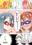 4girls :d adjusting_glasses ahoge bad_id bangs blunt_bangs blush brown_hair closed_eyes closed_mouth comic commentary_request cracked_glass dark_skin fang glasses grey_eyes grey_hair grin hair_between_eyes hand_on_own_cheek headdress kantai_collection kiyoshimo_(kantai_collection) libeccio_(kantai_collection) long_hair looking_at_viewer multiple_girls musashi_(kantai_collection) opaque_glasses open_mouth pince-nez pointy_hair roma_(kantai_collection) round_teeth short_hair short_hair_with_long_locks smile star tachikoma_(mousou_teikoku) teeth translation_request twintails two_side_up wavy_hair