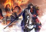 1boy absurdres architecture armor breath brown_hair chainmail clouds dragon east_asian_architecture fire headband highres horse horseback_riding japanese_armor kulicat long_hair looking_at_viewer original reins riding serious sword weapon white_horse
