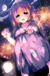 1girl :d absurdres bangs blush breasts brown_hair bucket cassini_m_bisuko cleavage clouds cloudy_sky collarbone eyebrows_visible_through_hair fingernails fireworks floral_print from_below hair_between_eyes hair_ornament hand_on_own_knee highres holding japanese_clothes kimono large_breasts long_hair long_sleeves looking_at_viewer night night_sky open_mouth original outdoors round_teeth sandals senkou_hanabi sky smile solo sparkler squatting star_(sky) starry_sky syroh teeth tree two_side_up violet_eyes yukata