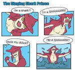 4koma artist_request comic english looking_at_viewer parody shark sidon splashing the_legend_of_zelda the_legend_of_zelda:_breath_of_the_wild water