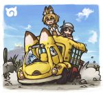 2girls animal_ears aozakana_zabaano bare_shoulders black_hair blonde_hair bow bowtie bucket_hat cactus clouds driving elbow_gloves eyebrows_visible_through_hair gloves grass ground_vehicle hat hat_feather japari_bus japari_symbol kaban kemono_friends lucky_beast_(kemono_friends) motor_vehicle multiple_girls one_eye_closed open_mouth rock serval_(kemono_friends) serval_ears serval_print serval_tail shirt short_hair sky smile tail
