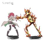 1girl belt blazing_inpachi boots coat duel_monster hiita inpachi kurenaitaro navel red_eyes redhead short_hair skirt staff yu-gi-oh!