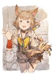 1girl animal_ears bell blush book brown_hair cat_ears child choker final_fantasy final_fantasy_xiv goblin_(final_fantasy) hair_bell hair_ornament hand_up happy highres holding holding_book jingle_bell junwool khloe_aliapoh leaning_forward mandragora_(final_fantasy) miqo'te muted_color open_mouth short_hair sketch smile solo tail