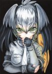 1girl 2017 artist_name black_background black_gloves close-up collared_shirt dated eyebrows_visible_through_hair fingerless_gloves fingernails gloves glowing glowing_eyes green_eyes green_hair grey_shirt hair_between_eyes hand_on_own_chin head_wings holding_arm kemono_friends layered_sleeves long_hair long_sleeves looking_at_viewer mosho multicolored_hair necktie ringed_eyes shirt shoebill_(kemono_friends) short_sleeves silver_hair simple_background solo streaked_hair thick_eyebrows traditional_media upper_body watercolor_(medium) white_necktie wing_collar