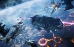 agnidevi battle explosion firing halo halo_(game) highres laser no_humans planet space_craft wreckage