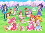 6+girls :d :t ^_^ akagi_towa amanogawa_kirara arisugawa_himari aroma_(go!_princess_precure) artist_request asahina_mirai bird blonde_hair blue_eyes blue_hair blue_legwear bow braid brown_eyes brown_hair closed_eyes cupcake detached_sleeves dog dress eating food food_themed_hair_ornament go!_princess_precure green_eyes green_hair ha-chan_(mahou_girls_precure!) hair_bow hair_ornament half_updo hanami_kotoha haruno_haruka highres izayoi_liko kaidou_minami kenjou_akira kirakira_precure_a_la_mode kotozume_yukari mahou_girls_precure! mofurun_(mahou_girls_precure!) multiple_girls official_art open_mouth pekorin_(precure) petals picnic pink_eyes pink_hair ponytail precure precure_dream_stars! puff_(go!_princess_precure) purple_hair redhead sakura_(precure) seiza shorts side_braid sitting skirt smile squatting strawberry_hair_ornament stuffed_animal stuffed_toy tategami_aoi teddy_bear thigh-highs tree twin_braids twintails usami_ichika violet_eyes