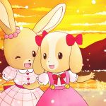 2girls 80s beady_eyes dog dress furry happy maple_town multiple_girls no_humans oldschool one_eye_closed patty_(maple_town) rabbit rolly_(maple_town) smile sunset