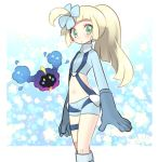 1girl 2017 :o alternate_costume alternate_hairstyle bangs blonde_hair blunt_bangs blush boots cosmog cosplay dated fukumitsu_(kirarirorustar) fuuro_(pokemon) fuuro_(pokemon)_(cosplay) gloves green_eyes hair_ornament lillie_(pokemon) long_hair long_sleeves looking_at_viewer midriff navel open_mouth pilot_suit pokemon pokemon_(creature) pokemon_(game) pokemon_sm ponytail shorts simple_background solo standing star starry_background suspenders thigh_strap white_background