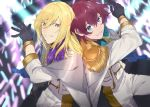 2boys alternate_costume asbel_lhant back-to-back black_gloves blonde_hair blue_eyes capelet epaulettes flower from_above gloves glowstick hair_between_eyes heterochromia idol idolmaster idolmaster_side-m leg_up lips long_hair looking_at_viewer male_focus microphone multiple_boys parted_lips richard_(tales) rose sachico66 smile super_live_fes tales_of_asteria violet_eyes