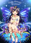 1girl :d ankle_lace-up bandeau barefoot blue_hair butterfly_hair_ornament butterfly_wings character_name cross-laced_footwear crossed_bangs dated feet floating flower flower_necklace hair_ornament happy_birthday head_wreath ichinose_yukino jewelry layered_skirt long_hair love_live! love_live!_school_idol_project necklace open_mouth smile solo sonoda_umi sparkle toes wings yellow_eyes