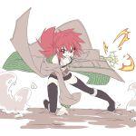 1girl belt boots coat duel_monster highres hiita kurenaitaro long_sleeves navel red_eyes redhead short_hair skirt staff yu-gi-oh!