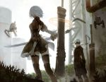 1boy 1girl android blindfold boots breasts building cutout dress gekkou_hotaru grass highres juliet_sleeves katana leaf long_sleeves nier_(series) nier_automata patterned_clothing pipes pod_(nier_automata) puffy_sleeves short_hair shorts strap sword thigh-highs thigh_boots weapon white_hair yorha_no._2_type_b yorha_no._9_type_s