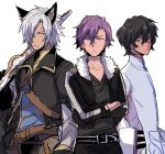 3boys animal_ears arjuna_(fate/grand_order) black_hair blue_eyes cropped_jacket crossed_arms crossover dark_skin dark_skinned_male ensemble_stars! erun_(granblue_fantasy) eustace_(granblue_fantasy) fate/grand_order fate_(series) fur_trim granblue_fantasy gun hair_between_eyes hair_over_one_eye jacket male_focus multiple_boys multiple_crossover open_clothes open_jacket otogari_adonis purple_hair rifle silver_hair sudachips trait_connection weapon yellow_eyes