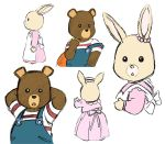 1boy 1girl 80s apron arms_behind_back beady_eyes bear bobby_(maple_town) cub dress furry looking_at_viewer maple_town no_humans oldschool patty patty_(maple_town) rabbit shirt smile