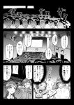 4girls animal_hair_ornament audience capelet clenched_hands comic commentary_request costume dunce_cap fan flying_sweatdrops food food_themed_clothes gloves greyscale grin hair_slicked_back harisen holding honda_mio idol_clothes idolmaster idolmaster_cinderella_girls kuboken_(kukukubobota) monochrome multiple_girls namba_emi nitta_minami oden open_mouth screen short_hair smile speech_bubble stage stage_lights striped surprised sweat thought_bubble translation_request ueda_suzuho vertical_stripes
