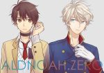2boys akuta_michi aldnoah.zero bangs blonde_hair brown_eyes brown_hair copyright_name double-breasted earphones eyebrows_visible_through_hair gloves green_eyes grey_background hair_between_eyes hand_up holding image_sample jewelry kaizuka_inaho long_sleeves looking_at_another looking_at_viewer male_focus military military_uniform multiple_boys necklace necktie parted_lips pixiv_sample red_necktie school_uniform short_hair silver_hair simple_background slaine_troyard sweater_vest uniform upper_body white_gloves